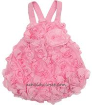 Cach Cach *Beautiful Buds* Pretty Pink Short Sleeve Tulle and Raw Edge Rose Buds One Piece Romper