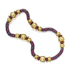 18 karat gold, sapphire, ruby and diamond necklace, VC&A, c. 1950