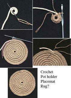 Best 11 Crochet Rug or heat pad if you get bored at about 12 Col Crochet, Crochet Bowl, Crochet Stitches, Crochet Handbags, Crochet Purses, Diy Crochet Rope Basket, Crochet Designs, Crochet Patterns, Rope Rug
