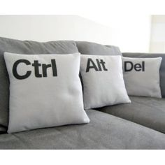 Mac has their own pillows and now Windows have Ctrl Alt Del Cushions.If you want to redesign your living room,this will be so creative and different style for your room.If you want Ctrl Alt Del cushions,there is link to buy. Pillow Talk, Pillow Set, Pillow Corner, Owl Pillow, Pillow Fight, Quilted Pillow, Deco Lego, Back In The Game, Pillows
