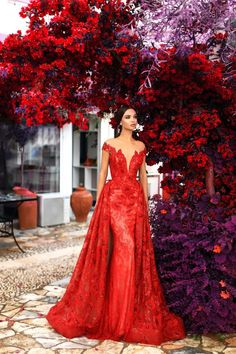 Tarik Ediz - 93673 Floral Lace Illusion Bateau Dress With Overskirt – Couture Candy Red Wedding Gowns, Red Gowns, Red Dress For Wedding, Lace Wedding, Purple Wedding, Mermaid Evening Dresses, Prom Dresses, Red Mermaid Dress, Bridesmaid Gowns
