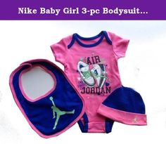 Nike Baby Girl 3-pc Bodysuit, Bib, & Cap Layette Set (6/9 Months, Pink Royal Jordan). She'll be super cute & comfortable in this 3-piece set from Nike. Each set includes short sleeve cotton bodysuit, bib, & cap, all with Nike swoosh.