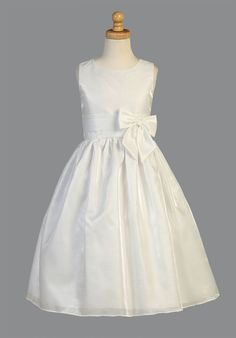 Girls Dress Style SP152 - WHITE Sleeveless Striped Organza Dress with Bow Accent  We love how simple and classic this timeless dress is. The dress is made of beautiful striped organza that gives it a unique look. The waist is accented with an adorable bow. Dress is perfect for any flower girl or First Holy Communion.  http://www.flowergirldressforless.com/mm5/merchant.mvc?Screen=PROD&Product_Code=L_SP152&Store_Code=Flower-Girl&Category_Code=White