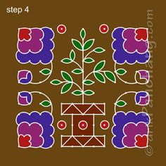 This page provides Tulasi Rangoli Designs with title Tulasi Rangoli 7 for those Hindu festivals which are related to Goddess Tulasi. Simple Rangoli Designs Images, Rangoli Designs Flower, Small Rangoli Design, Rangoli Ideas, Rangoli Designs Diwali, Diwali Rangoli, Rangoli Designs With Dots, Rangoli With Dots, Beautiful Rangoli Designs