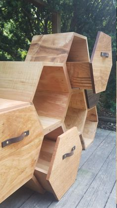 Modern Dresser ~ Chest of Drawers / storage cabinet /honeycomb shelves /hexagon shelves /shelving unit /modern shelf /retail display/kitchen - FURNITURE PROJECTS Woodworking Projects Diy, Woodworking Furniture, Diy Wood Projects, Furniture Projects, Woodworking Plans, Awesome Woodworking Ideas, Popular Woodworking, Funky Furniture, Woodworking Classes