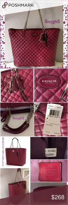 """Coach Metro Metro Quilted Chain Tote #32905 Coach Metro Metro Quilted Chain Tote ~ Handbag in Claret 32905   BRAND NEW WITH TAGS ATTACHED  ABSOLUTELY GORGEOUS    Patent Leather Trim 3 Coach hang tags Stunning Polished Silver hardware Double Chain & Leather handle straps with about a 9"""" drop Goes Perfectly with almost any Outfit   INTERIOR Zipper pocket with leather zipper pull 2 Slip pockets and pen pocket Inside has Purple Fabric Lining  Approximate Measurements : 17"""" (W) Top X 12"""" (H) X…"""