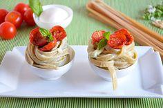 Noodles integrals with confit tomatoes and creamy burrata   Tagliatelle integrali con crema di burrata e pomodorini confit