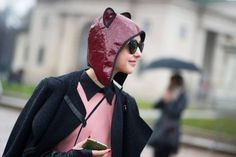 I need that hat Street Style: Milan Fashion Week Bundles Up - The Cut