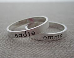 silver rings with stamped - Google Search