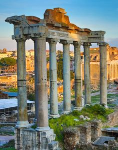 Sunset over Ruins of The Forum, Rome Italy