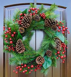 Christmas wreath~rustic Christmas wreath~farmhouse wreath~Front door wreaths~pine wreath for Christmas~winter wreath -- Awesome products selected by Anna Churchill