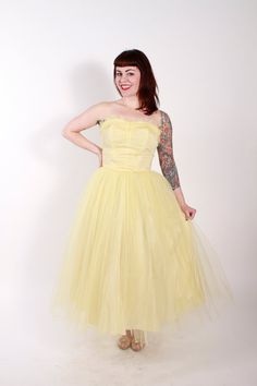 Vintage Early 1950s Party Dress Strapless Yellow by stutterinmama, $178.00