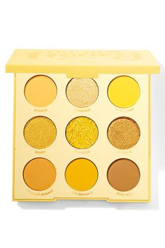 This shadow palette has every shade of yellow under the sun in 5 mattes, 3 metallics, and 1 Pressed Glitter. Yellow Eyeshadow Palette, Blending Eyeshadow, Eyeshadow Pallettes, Basic Makeup Kit, Basic Makeup Tutorial, Colourpop Cosmetics, Makeup Cosmetics, Eyeshadows, High End Makeup Brands