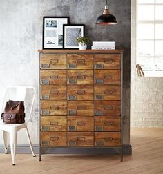 Chandler Apothecary Chest of 18 Drawers - Mango Wood Mango Wood Furniture, Asda, Apothecary, Drawers, Dresser, Antiques, Home Decor, Antiquities, Powder Room