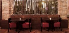 Symmetrical seating.  Bamboo Thai Cuisine.  SW Pine Street in Portland http://www.bamboo-thai.com/ Restaurant redesign by Ida York Interior Design