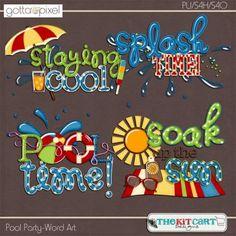 Pool Party- Digital Scrapbook Word Art. $2.99 at Gotta Pixel. www.gottapixel.net/