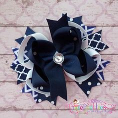 Navy Blue Stacked Boutique Hair Bow