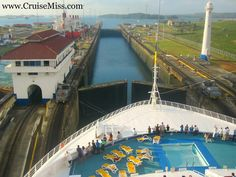 Princess Cruise Ship (Sun Class) in the Panama Canal - doesn't look like it will fit, does it?