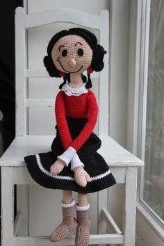 Haakpatroon Olijfje. Crochet doll Olive. Gehaakte pop Olijfje. Haakpatroon van Inhaken ☆