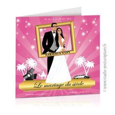 Faire-part de mariage original affiche cinéma oriental or et rose - save the date wedding invitation card