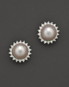 Cultured Akoya Pearl Stud Earrings with Diamonds in 14K White Gold, 6.5mm