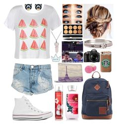 """""""OOTD"""" by k17dunn ❤ liked on Polyvore featuring beauty, Ally Fashion, One Teaspoon, Converse, Stila, Hermès, JanSport, Bling Jewelry, Eos and Nikon"""