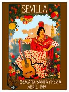 A SLICE IN TIME 1919 Sevilla Seville Spain Europe European Vintage Travel Advertisement Art Collectible Wall Decor Poster Print. Measures 10 x inches Poster Pictures, Print Pictures, Illustration Art Nouveau, Seville Spain, Cultural, Advertising Poster, Vintage Travel Posters, Spain Travel, E Bay