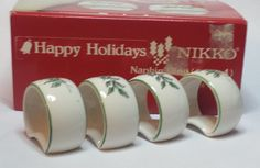 Happy Holidays NIKKO set of 4 ceramic napkin ring Made in #Japan visit our ebay store at  http://stores.ebay.com/esquirestore