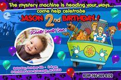 Scooby doo  party invites birthday invitation photo invites printable - 1st first custom card - digital file. $11.99, via Etsy.