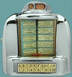 The jukebox in the diner booth