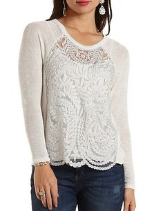 a36b1c6389bda0 Embroidered Mesh  amp  Sweater Knit Top  charlottelook  charlotterusse Debs  Clothing