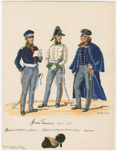1813-15  Prussian Army.    L to R Adjutant Cavalry Regiment Leibrock, Adjutant Cavalry Regiment, Feldmaeschmanig and Engineer.library.brown.edu