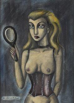 Woman holding a mirror by Kuniyoshi Kaneko