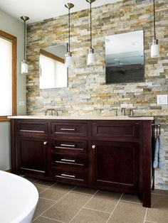 stone wall, stained vanity