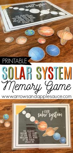 Learning about our amazing solar system is fun and easy with this printable memory game. Perfect for your homeschool science curriculum and a great addition to your busy binder. #homeschoolprintable #homeschoolscience #solarsystemactivity #kidsscienceactivity #learningaboutplanets #preschoolcurriculm #kindergarten#printablecurriculum #theheavensdeclarehisglory Solar System Activities, Solar System Crafts, Solar System Games, Enrichment Activities, Space Activities, Classroom Activities, Preschool Activities, Science Games, Preschool Science