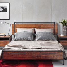 CHICAGO Solid Wood Queen Bed with Drawers - Picket&Rail Singapore's Premium Solid Wood Furniture & Custom Lifestyle Retailer Bed Frame With Drawers, Bed Frame With Storage, Bed Storage, Wooden Bed With Storage, Bed Drawers, Industrial Bed Frame, Platform Bed Designs, King Bed Frame, Wood Bed Frame Queen