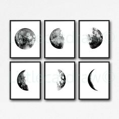 Moon Phases Black Art Print Set of 6 by Littlecatdraw. These are archival art prints, printed on archival matte paper with vibrant pigment inks. 4 sizes are available. Please select size at top of the listing. Sizes: 4x6 inches, 5x7 inches, 8x10 inches or A4 8.2x11.7 inches. PRINT ONLY FRAME NOT INCLUDED. All prints are shipped in a clear archival sleeve in a hard cardboard mailer envelope. International orders are shipped via airmail. Only pay 1 shipping charge no matter how many prints you…