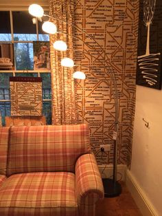 Mind The Gap wallpaper. Ollaberry & Roxburgh wool on upholstery