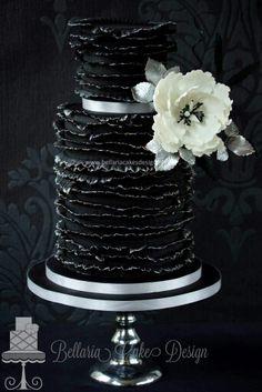 Black Ruffled Cake