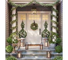 Front Door Topiary Christmas Entryway Beautiful Front
