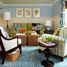 blue, green, brown, cream living room