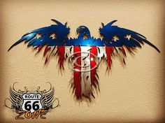 """American Eagle Flag Metal Art! This handmade in the USA patriot piece measures 22"""" wide by 12"""" tall. It is created out of 16 gauge cold roll steel, and is finished out with metallic paint and clear co"""