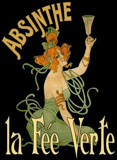One of the most famous way to enjoy Absinthe. The Green Fairy is made with Absinthe, Sugar. Vintage French Posters, French Vintage, Old Poster, Retro Poster, Poster Art, Art Posters, Illustration Art Nouveau, Art Nouveau Poster, Vintage Advertisements