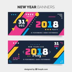 Colorful new year 2018 banners Free Vector Banner Design Inspiration, Web Banner Design, Flyer Design, Web Design, New Year Banner, Holiday Banner, Event Banner, Banner Vector, Media Design