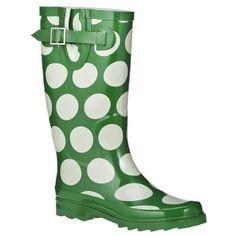polka dots - green/white