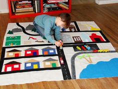 How to Make a Kid's Activity Mat from a Drop Cloth >> http://www.diynetwork.com/decorating/how-to-make-a-no-sew-play-mat-from-a-canvas-drop-cloth/pictures/index.html?soc=pinterest
