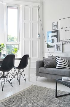 Todays detail post by Ollie Haus, black white and grey interior, the grey softens the trend for monochrome schemes.