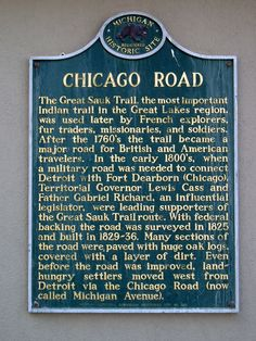 Chicago Road Historical Information Marker