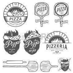 Vintage pizzeria labels badges and design elements Stock Vector