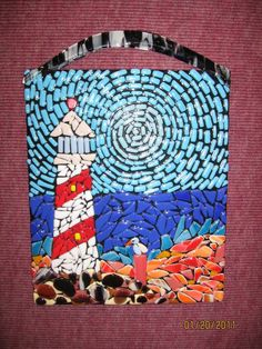 Fused Glass Mosaic Lighthouse Panel.